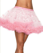 Brand New White And Light Pink Layered Satin Striped Tulle Petticoat Skirt - A17