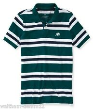AEROPOSTALE A87 MEN JERSEY POLO STRIPED SHIRT DARK GREEN