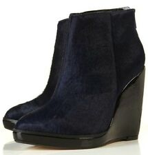 TOPSHOP BRUSHED LEATHER PONY SKIN NAVY BLACK WEDGE ANKLE BOOTS  RARE & UNIQUE