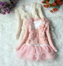 2 Piece Girls Children Flower Tutu Top Jacket Party Dress  Age 2,3,4,5,6,7 Years