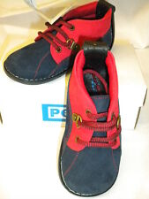 LEATHER BABY SHOES BY PEX DESIGN BAILEY SIZE 2/3/4/5/NAVY/RED SUEDE