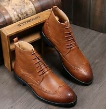 Mens ankle boots dress wingtip leather lined chukka high top casual oxford shoes