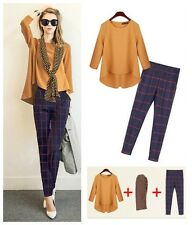 S47 2014 New Fall Ladies Linen Top+Cotton Pants Leisure Suit Outfit Free Scarves