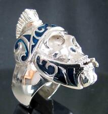 ARTWORK BIKER SILVER RING ROMAN LEGION GLADIATOR WARRIOR SKULL BLUE MC ANY SIZE