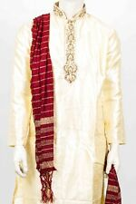 MKP3050 Cream and Ivory Men's Kurta Pyjama Indian Suit Bollywood Sherwani