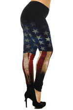 RARE USA AMERICAN flag RED BLUE Rusted ankle leggings pants Cotton L 1X 2X 3X