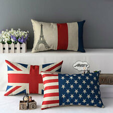 US&UK Flag Stripes Tower Decorative Throw Sofa Pillow Case Cushion Cover 30*50CM