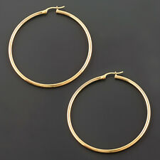 14K LARGE 2x50MM WHITE, YELLOW OR ROSE GOLD  ROUND TUBE HOOP EARRINGS