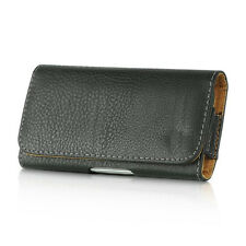 for LG Phone - HORIZONTAL BLACK PU Leather Pouch Holder Belt Clip Holster Case
