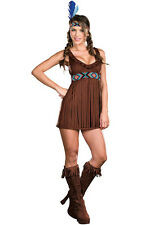 TRIBAL TROUBLE SEXY INDIAN PRINCESS POCAHONTAS ADULT WOMENS FANCY DRESS COSTUME