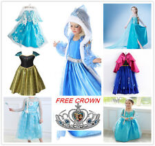 UK SELLER Disney Frozen Elsa Anna Princess Costume Fancy Dress Party FREE CROWN