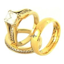 His Hers 3 PCS Princess Cut Gold IP Stainless Steel Wedding Set /His Gold Band