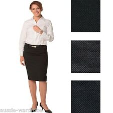 NEW LADIES WOMENS WOOL STRETCH MID LENGTH LINED PENCIL WORK CASUAL DRESS SKIRT