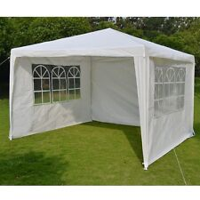 10' x10' BBQ Gazebo Pavilion White Canopy Wedding Party Tent With Side Walls