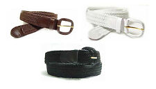 LA400 - NYLON STRETCH BRAIDED BELT IN BLACK, BROWN OR WHITE & SIZES SMALL TO 4XL