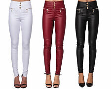 WOMENS SUPER SKINNY FIT HIGH WAIST 3 BUTTON LEATHER WET LOOK PANTS  TROUSERS