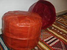 GENUINE LEATHER MOROCCAN POUF, HANDMADE OTTOMAN FOOTSTOOL