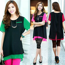 Newly Chiffon Sweety Big Size Blouse Shirt Short Sleeve Two-piece Loose Solid