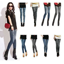 Fashion Sexy Girl's Faux Denim Jean Leggings Jeggings Skinny Tights Pants