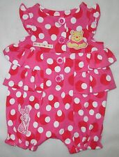 Disney Winnie the Pooh Baby Girl Polka-Dot & Frills Pink Romper Size 00 0 1  NEW