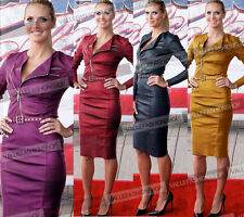 Womens Celebrity Synthetic Leather Belted Zipper Party Cocktail Pencil Dress 419
