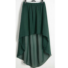 Dark Green Asym Dress Skirt Sexy Women Girl Chiffon Pleated Retro Elastic Waist