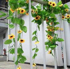 ARTIFICIAL SUNFLOWER VINE FAUX GARLANDS FAKE IVY PARTY HOUES YARD OFFICE DECOR