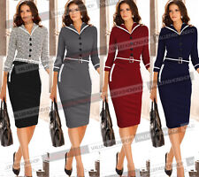 Womens Elegant Colorblock Tunic Business Casual Party Pencil Sheath Dress 880