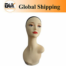 "17"" PVC Mannequin Manikin Head Bust for Wig Hat Necklace Jewelry Display PZGD#"