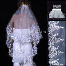 2 Tier White/Ivory Fingertip Lace Applique Edge Bridal Wedding Veil With Comb