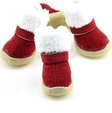 Faux Suede Pet Small Dog Winter Anti-slip Bootie Christmas Snow Boots Shoes U27