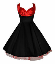 Ladies 1950's Vintage Christmas Black Red Draped Neck Netted Party Swing Dress
