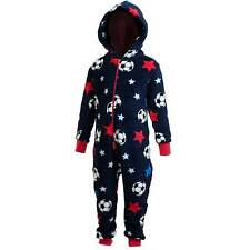 Boys Supersoft Fleece Hooded Novelty Onesie Football Printed Navy Red 2-11 Yrs