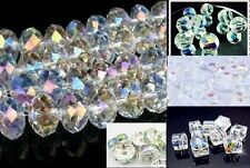Crystal  Bead Clear AB Faceted Glass or Acrylic ALL SIZES Shapes Cube Round