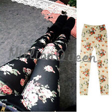 Trendy Women's Sexy Vintage Rose Printed Stretch Leggings Tights Pencil Pants