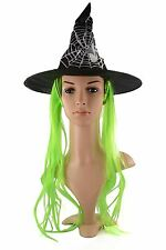 New Ladies Neon Colour Witch Wig Fancy Dress Halloween Party Costume Accessory