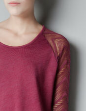 CONTEMPORARY TOP BLOUSE SWEATER BY ZARA SPAIN WITH OPEN BACK M BURGUNDY