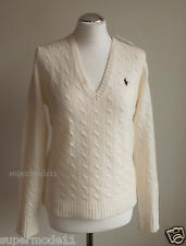 RALPH LAUREN SPORT CABLE SWEATER  Damen Pullover Merino Wolle cream Gr. S  L XL