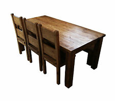 Chunky Wood Dining Table and Chair Set