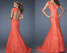 2014Long Mermaid Lace Prom Formal Party Evening Pageant Dresses Wedding GownsNew