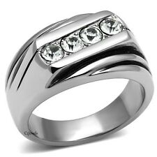Men's CZ 4 Stone Stainless Steel Wedding Band Ring 1.00 Ct Sz 8 -13