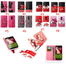 Lovely Bow Wallet Stand Card holder Flip leather case cover for LG SMART PHONE