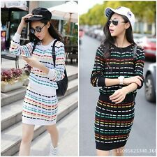 Womens Stylish Casual Crew Neck Slim Long Sleeve Pullover + Skirts Knitting Suit