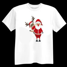 FATHER CHRISTMAS & RUDOLPH FUN T SHIRT AGE 1-13 AN ADULT SIZE 12 - 26 SANTA GIFT