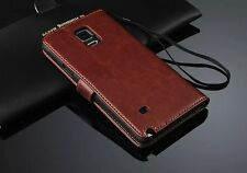 Photo Slot Flip Wallet Genuine Leather Case Cover For Samsung Galaxy Note4 N9100