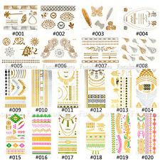 1 Sheet Temporary Metallic Tattoo Novelty Gold Silver Flash Tattoos Inspired New