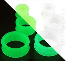 """1 PAIR 8G to 1/2"""" Flexible Silicone Glow in the Dark Double Flared Tunnel Plugs"""