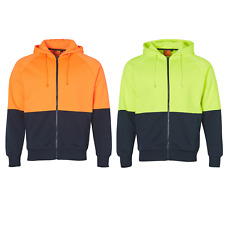 NEW MENS HIGH VISIBILITY TWO TONE FLEECY WORK FLURO YELLOW ORANGE HOODIE JUMPER