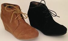 Womens Low wedge Casual heel lace up Oxford Booties Fashion Shoes boots winter