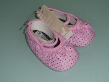 BABY GIRLS PRE WALKER SOFT SOLE SHOES PINK BLACK POLKADOT WITH LACE AND BOW
